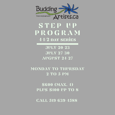 Step up Program - 4 - 1/2 day series July 20-23, July 27-30, August 24-27 Monday to Thursday 2pm - 5pm  $600 for up to 4, plus $100 each  extra up to 8 Call 519-639-4588 to book